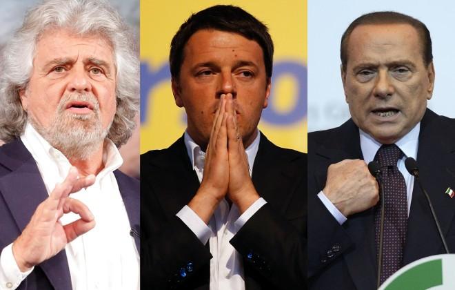Grillo Renzi Berlusconi